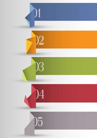 numbered: Origami di carta numerati banner. Vettoriali