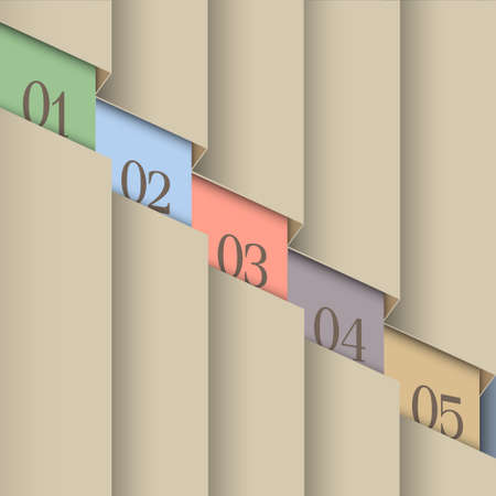 info graphic: Paper number line background  Vector design template  Illustration