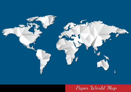 Paper World map in origami style  Vector eps10 Illustration