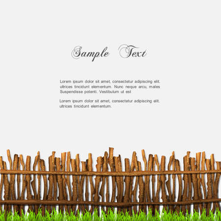Rustic fence with grass   Stock Vector - 14920799