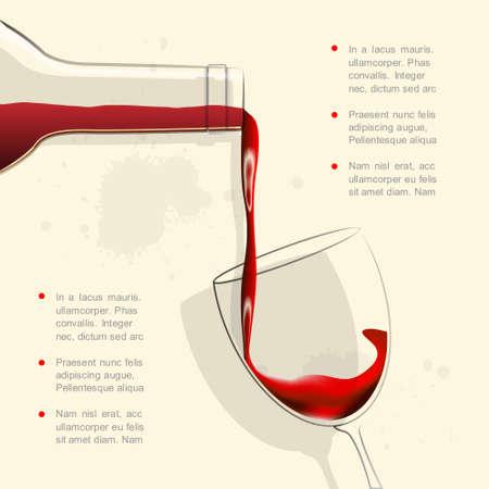 wine pouring: Vino versando in vetro di vino
