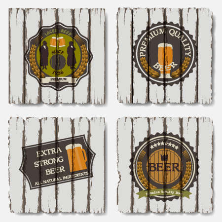 Beer badges and labels on old wood background Vector