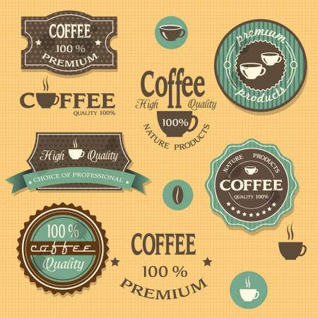 coffee beans: Koffie etiketten voor ontwerp vintage stijl Stock Illustratie