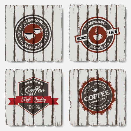 Coffee labels on old wood background  Vector