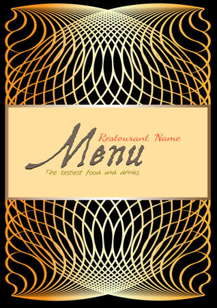 wine book: Golden menu design template  Illustration