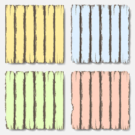 old wooden door: Old wooden fence in pastel colors set Illustration