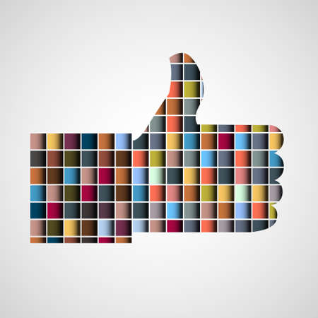 Thumb up - Like made of colorful blocks  Vector