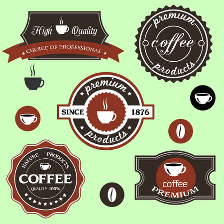 cappuccino: coffee labels in retro style