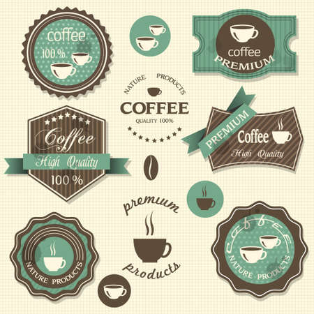coffee beans: Vector coffee labels  Vintage style