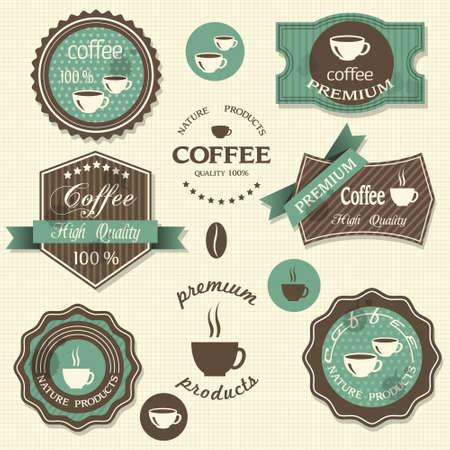 chicchi di caff�: Vettore caff� etichette stile vintage