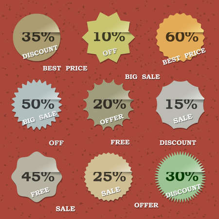 9 Vintage sale labels. Vector set Vector