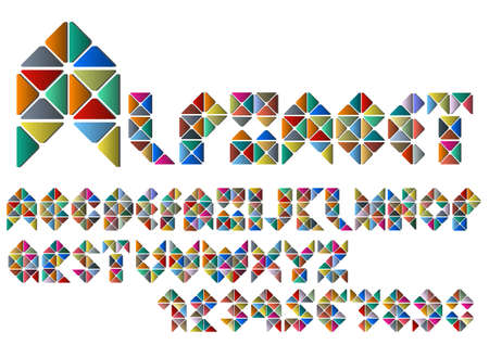 Alphabet letters and numbers from colorful mosaic. Vector