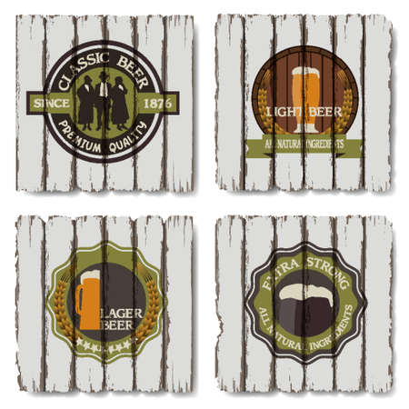 Beer badges and labels on wooden  background  Vector