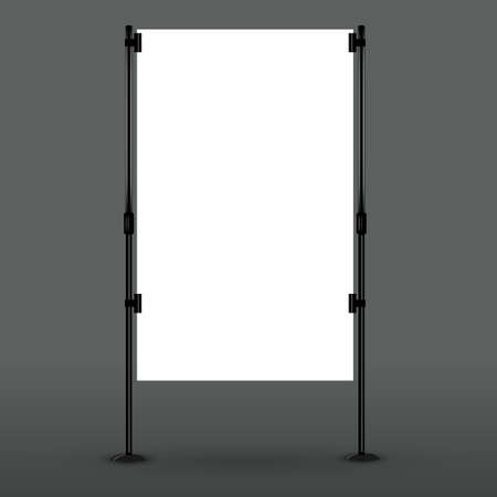 placards: Blank roll up banner display.
