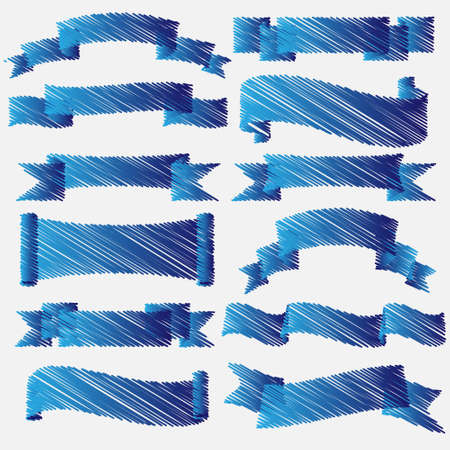Blue scribbled ribbons and banners Vector set Vector
