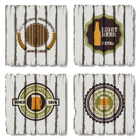 Four beer labels on old wood background Stock Vector - 14994331