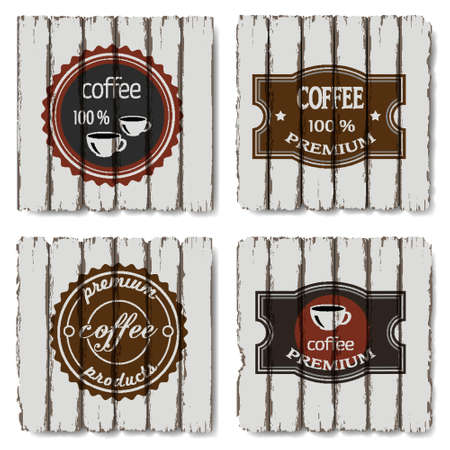 Four coffee labels on old wood background Stock Vector - 14994323