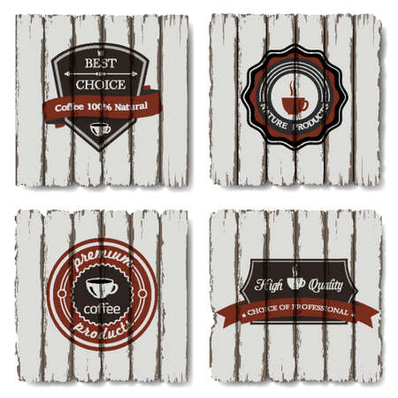Vector coffee labels on old wood background Vector