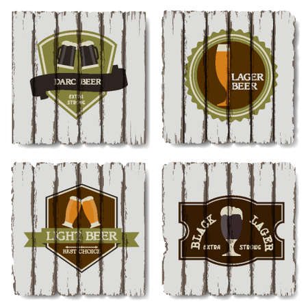 Vector set of beer badges and labels on wood background Vector