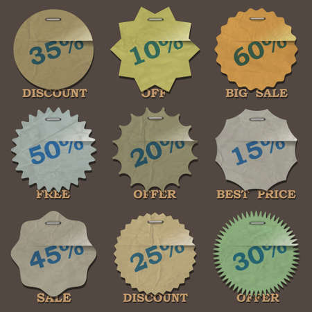Vintage sale stickers and labels  Vector set Vector