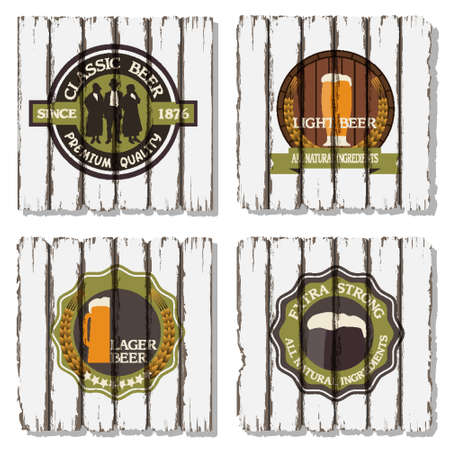 Beer badges and labels on wooden  background Stock Vector - 15064008