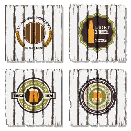 Four beer labels on old wood background Stock Vector - 15064021