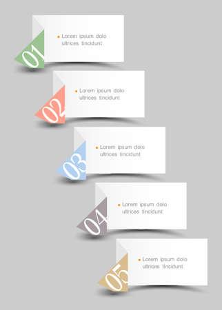 numbered: Origami di carta numerata modello bannersCreative progettazione Vettoriali