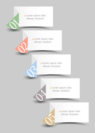 origami paper: Origami paper numbered bannersCreative design template