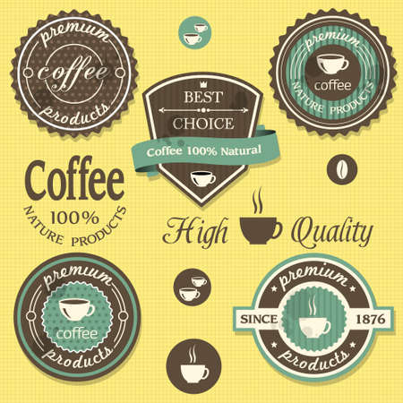 old bar:  coffee labels in  vintage style Illustration