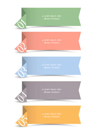 origami paper numbered banners Stock Vector - 15063995