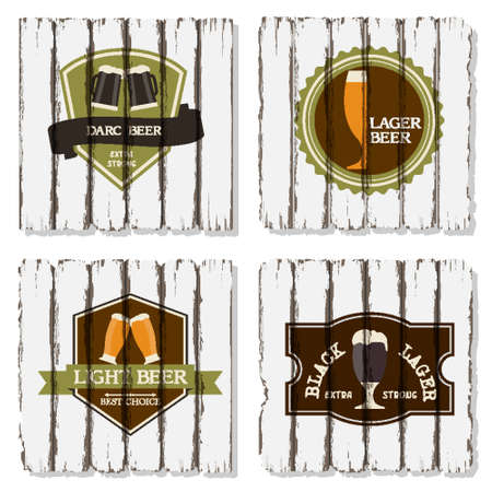 set of beer badges and labels on wood background Vector