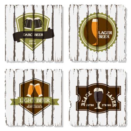 irish pub label design: set of beer badges and labels on wood background Illustration