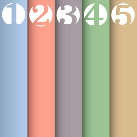 number: Vertical paper numbered banners in pastel colors