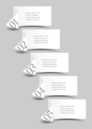 billboard blank: White origami paper numbered banners design template