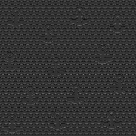 Black stylish seamless pattern with anchors  Vector