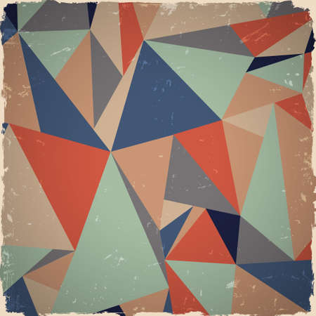 Geometric grunge background in retro colors   Vector