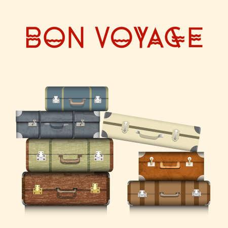 reise retro: Koffer Realistic Illustration