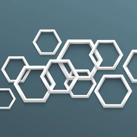 multifaceted: 3d geometric background with hexagons