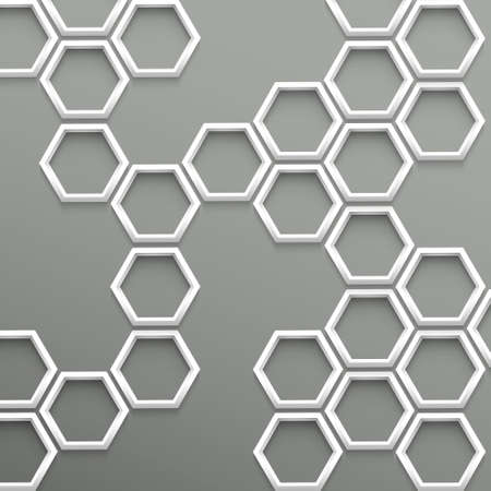 hexahedron: 3d trendy geometric background with hexagons Illustration