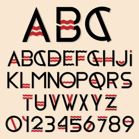 Black and red font and numbers  Vector set Stock Vector - 15515819
