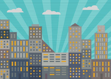 city line: City in retro style  Vector illustration Illustration