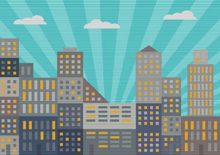 City in retro style  Vector illustration Illustration