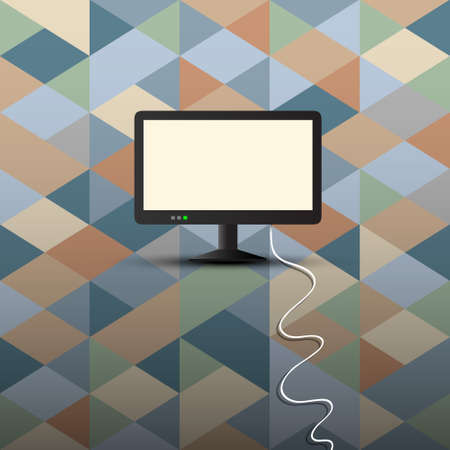 Computer display on retro background  Conceptual  Vector