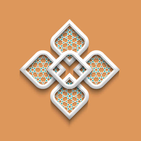in islamic art: 3d elegant pattern in arabic style. Illustration