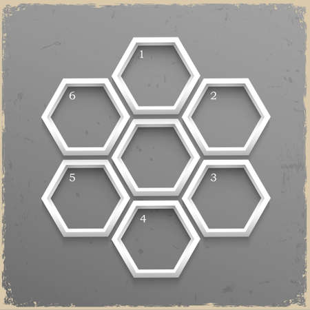 hexahedron: 3d geometrical numbered banners on grunge background.