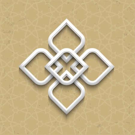 osmanisch: 3D-Muster im arabischen Stil auf Grunge Hintergrund. Illustration