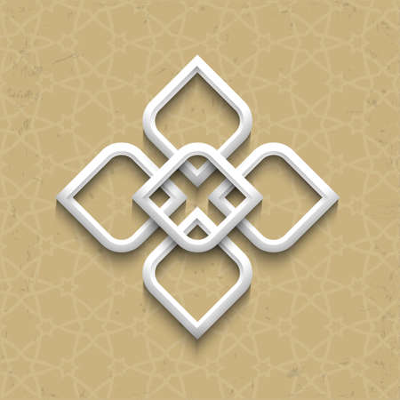 3d pattern in arabic style on grunge background. Vector