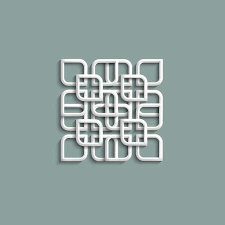 3d white pattern in arabic style.  Vector