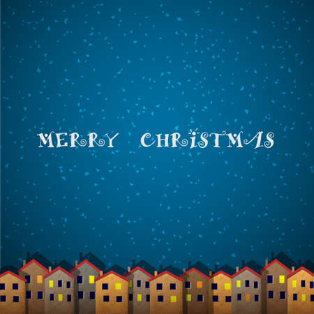 Christmas card with houses. Illustration