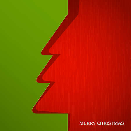 Christmas tree cut out on paper.  Vector
